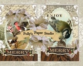 Merry Winter Birds Collage Digital Images printable download file