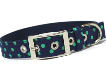 Dog Collar with metal buckle- Prepster Navy and Green Dots