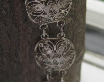 Antique 900 Silver Filigree Victorian Ladies Bracelet Very Nice Women's Filigree Work Very Old