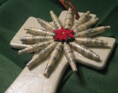 Paper Bead Embellished Cross Ornament