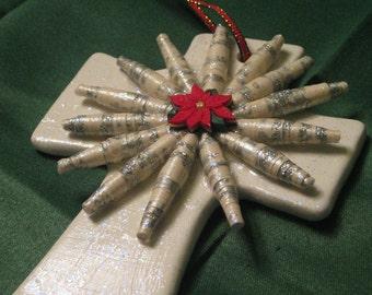 Paper Bead Embellished Cross Ornament