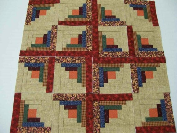 Paper Piecing Quilt Patterns Log Cabin : 16 Log Cabin Patchwork Quilt Blocks Paper Pieced by PokeSallet