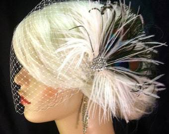 "The Peacock Wedding - Feather Bridal Fascinator- (2 Items) Peacock,  Ostrich Feather Fascinator & Ivory 9"" Bandeau Veil"