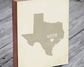 Austin Art Print - Texas Art - Austin Art - Austin Texas - I Love Austin - Wood Block Art Print