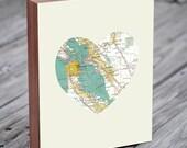 San Francisco - San Francisco Art - San Francisco Map - San Francisco Map Art - City Heart Map - Wood Block Art Print