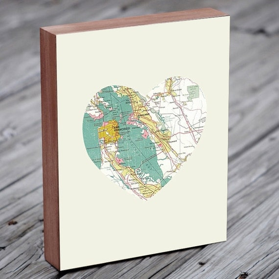 San Francisco - San Francisco Art - San Francisco Map - San Francisco Map Art - City Heart Map - Wood Block Art Print