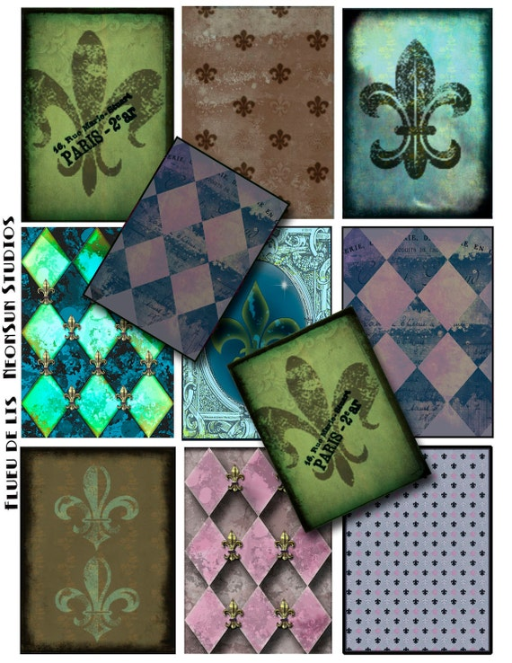 ATC Collage Sheet, Harlequin Diamonds and  French Fleur De Lis, Instant Download