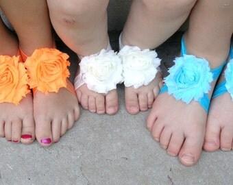 Barefoot Sandals - Baby Sandals - Flower Sandals - Toddler Sandals - Beach Shoes - Tutu Shoes- Baby Ballet- Princess barefoot sandals