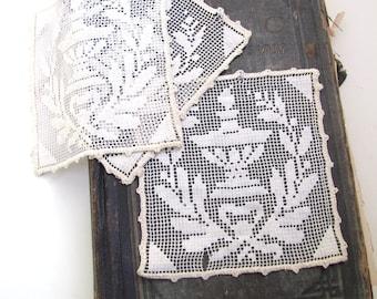 Victorian Lace Squares, Vintage Decorative Trim