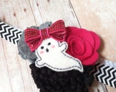 SALE Halloween ghost felt flower headband