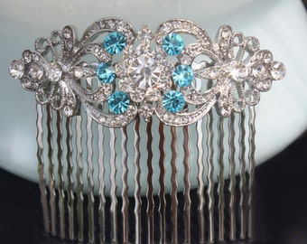 teal blue turquoise blue aqua blue rhinestone swarovski crystal bridal hair comb something blue wedding hair combs silver headpiece art deco