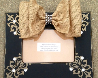 4x6 Black Painted Frame with Burlap Jeweled Bow
