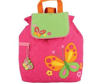 SHIPS NEXT DAY--Personalized Monogrammed --New Pattern-- Stephen Joseph Kid Quilted Pink Butterfly Backpack--Free Monogramming--