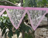 All Pink Lace Princess Birthday Party Decoration Fabric Bunting 15 Ft Garland Banner