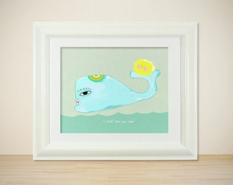 Keep You Safe // Illustration Print, Modern Art Poster, Nursery Art, Baby's Room, Kids, Whales, Ocean, I Love You, Digital Print, Giclee