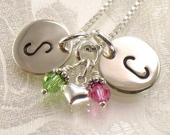 Monogrammed Necklace with Silver Heart Charm and Two Discs Stamped with Two Initials - For Mother and Daughter , Sisters , Girlfriend