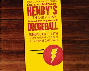 Dodgeball invitations - set of 12