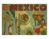 MEXICO 2F- Handmade Leather Postcard / Note Card / Fridge Magnet - Travel Art