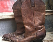 Chocolate Brown Leather Cowgirl Boots - size 8