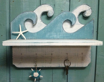 Waves Shelf Key Holder Hook Rack Sign Wall Beach House Decor CastawaysHall