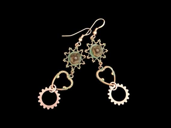 Steampunk Earrings Copper and Verdigris Floral Flower Heart Pierced Ear Wires by Dr Brassy Steampunk