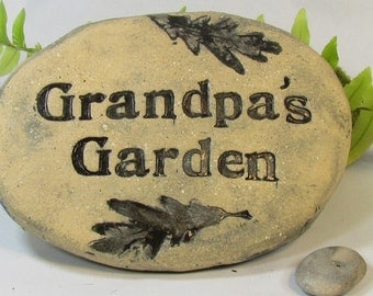 Personalized Grandpa's Garden stone garden marker. Grandpa gift. Ceramic plaque, Outdoor Sign for Grandpa's vegetables, flowers or herbs