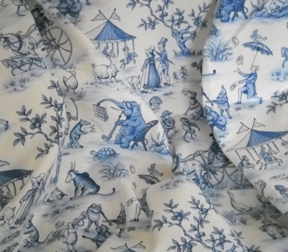 blue and white toile circus print decorator fabric by sosewnice. Black Bedroom Furniture Sets. Home Design Ideas