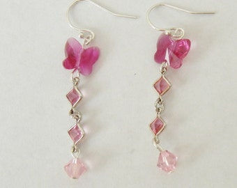 Pink Dangling Swarovski Butterfly Crystal Earrings
