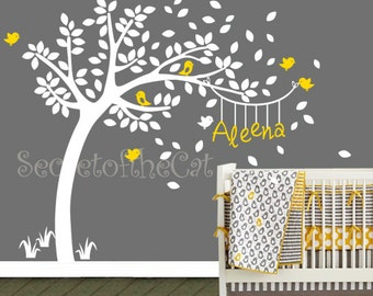 Nursery Wall Decal - Wall Decals Nursery - Tree and  Name - Windy Tree Decal - Hanging name - Monogram - Nursery Decals