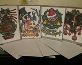 """Set of 4 Occult/Metal """"Christmas"""" Cards"""