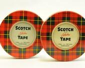 Vintage Scotch Tape tins, red and green tin, plaid tins, storage tins