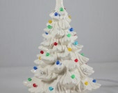 "Ceramic Christmas Tree (11 1/2"") White Handmade"