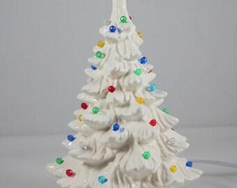 "Ceramic Christmas Tree (11 1/2"") White Handmade"