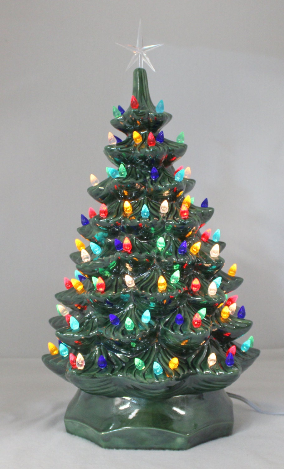 Ceramic Christmas Tree 21 Plane Base Lighted By