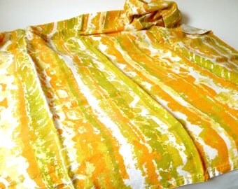 Vintage Orange, Yellow, Green 1970s Textile ... Wavy, Dreamy, Remnant, Tablecloth, Rayon, Cotton, Hemmed