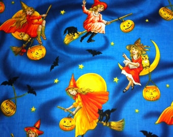 Bewitched on Blue Halloween Cotton Fabric - Sewing Craft Supplies