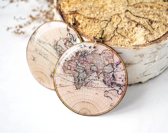 Vintage world map earrings - map earrings, vintage map earrings, map print resin earrings, travel resin jewelry, map jewelry - ready to ship