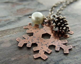 Snowflake Necklace, Silver Pine Cone, Glass Pearl, Winter Necklace, Copper, Snow, Christmas, Mixed Metal, Nature