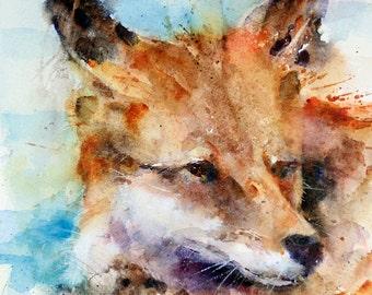 FOX Watercolor Art Print, Fox Painting, Fox Art, By Dean Crouser
