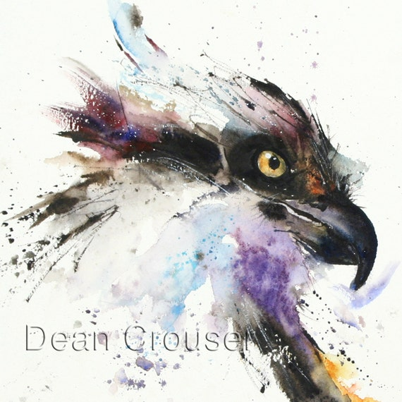 Hawk painting watercolor - photo#6