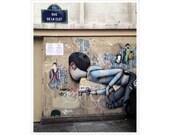 Paris street art - Rue de la Clef - art urban, skeleton keys, mural, French, France, street sign graffiti  8x10 Original Fine Art Photograph