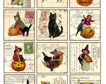 halloween - Digital Collage Sheet Vintage Printable Tags large square images 2.5 inch postcard background - black cat pumkin little witch