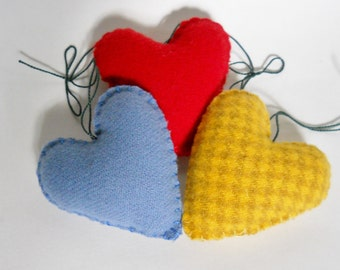 Heart Ornaments - Small Wool Hearts - Felted Wool Puffy Hearts -  Primary Color Decorations