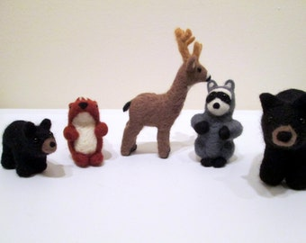 Felted Woodland Set - Needle Felted Animals - Set of Five