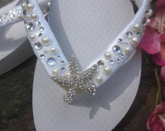 Bridal Flip Flops Bride Shoes Sandals Wedding Flip Flops Shoes Wedding Sandals. Beach Wedding Sandals. White Flip Flops.Bridesmaid Shoes