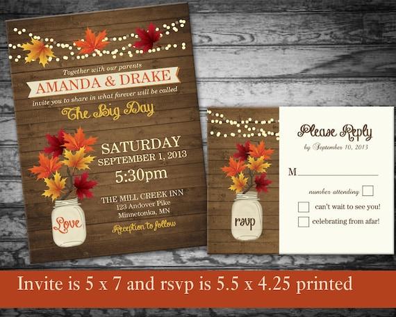 Fall Wedding Invitations Rustic Mason Jar By NotedOccasions