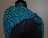 Blue & Green Crochet Hooded Scarf