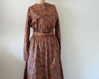 1980s Liberty Print Dress / paisley print cotton shirtwaist / classic preppy vintage