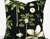 Black White and Green Botanical 18 inch Decorative Pillow Accent Pillow Throw Pillow Cushion Cover