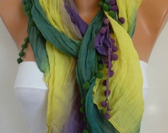 Ombre Scarf Shawl Scarf Batik Design Cowl Scarf Gift Ideas  Teens For Her bridesmaid gift Women's fashion - Yellow Purple Green Pompom Scarf
